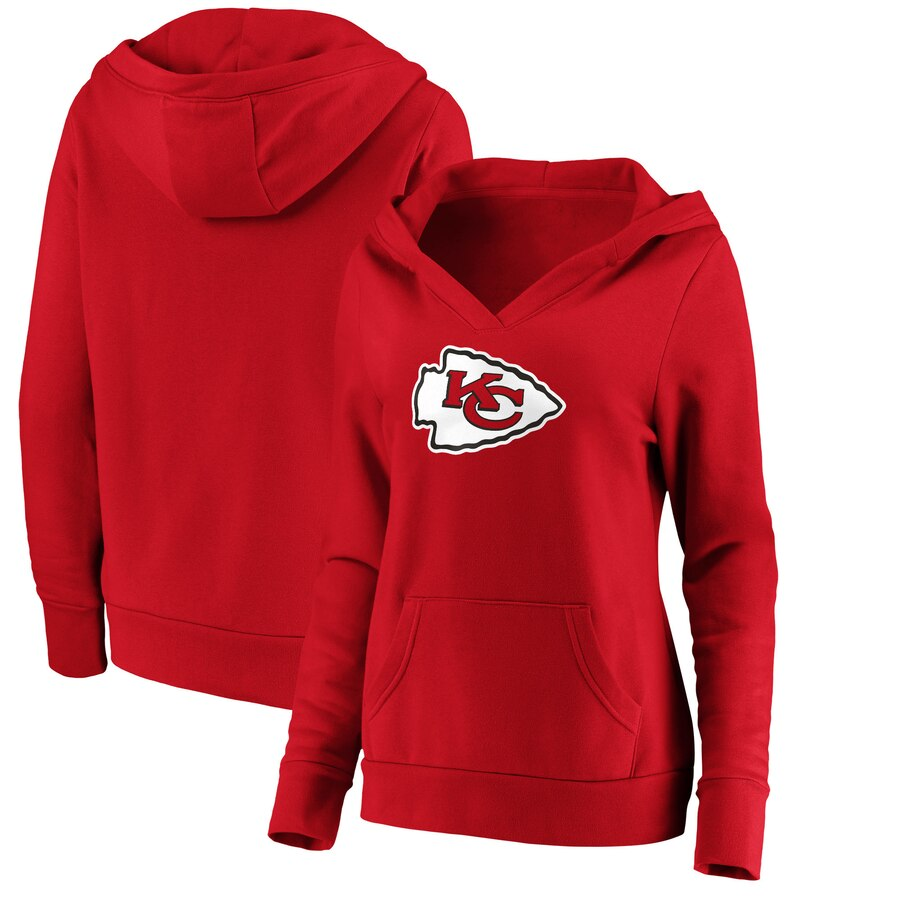 Kansas City Chiefs NFL Pro Line by Fanatics Branded Women's Primary Team Logo V Neck Pullover Hoodie Red