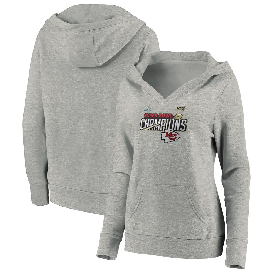 Kansas City Chiefs NFL Pro Line by Fanatics Branded Women's Super Bowl LIV Champions Trophy Collection Locker Room Pullover Hoodie Heather Gray