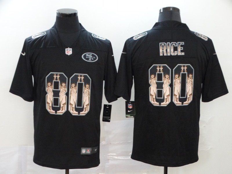 Nike 49ers 80 Jerry Rice Black Statue of Liberty Limited Jersey