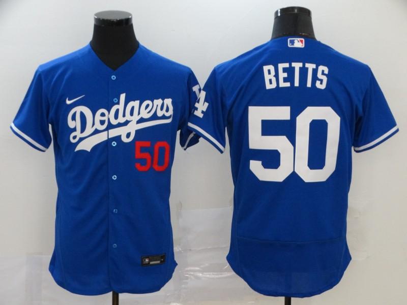 Dodgers 50 Mookie Betts Royal 2020 Nike Flexbase Jersey