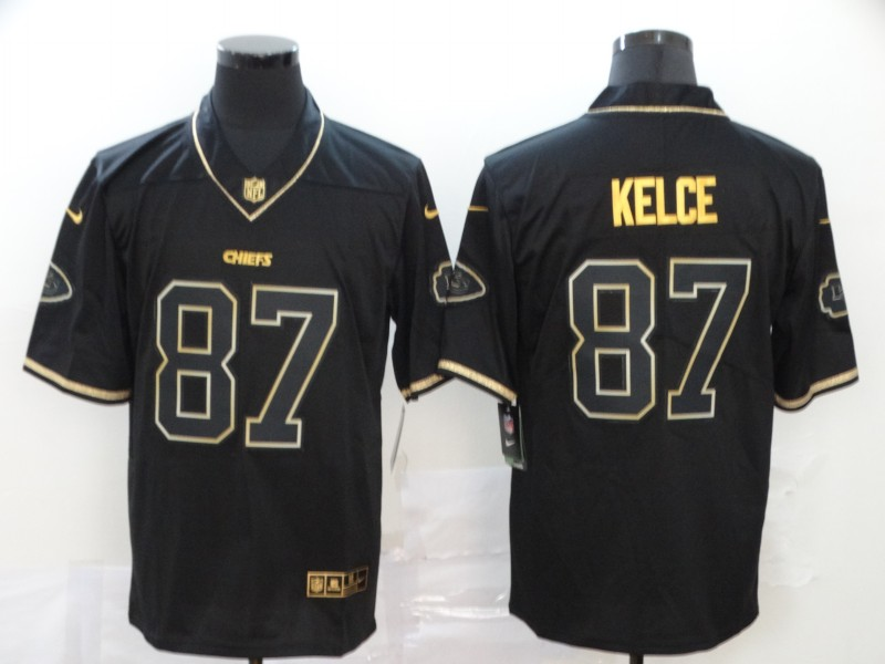 Nike Chiefs 87 Travis Kelce Black Gold Vapor Untouchable Limited Jersey