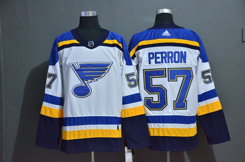 Blues 57 David Perron White Adidas Jersey