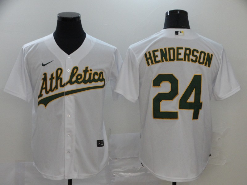 Athletics 24 Rickey Henderson White 2020 Nike Cool Base Jersey