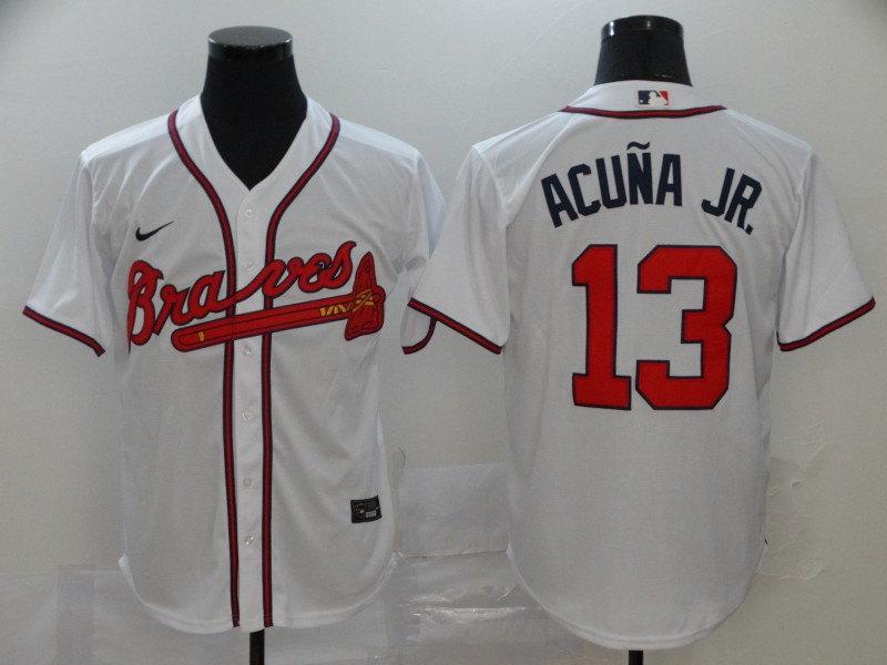 Braves 13 Ronald Acuna Jr. White 2020 Nike Cool Base Jersey