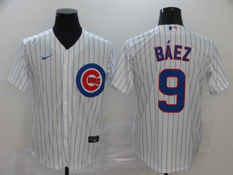 Cubs 9 Javier Baez White 2020 Nike Cool Base Jersey