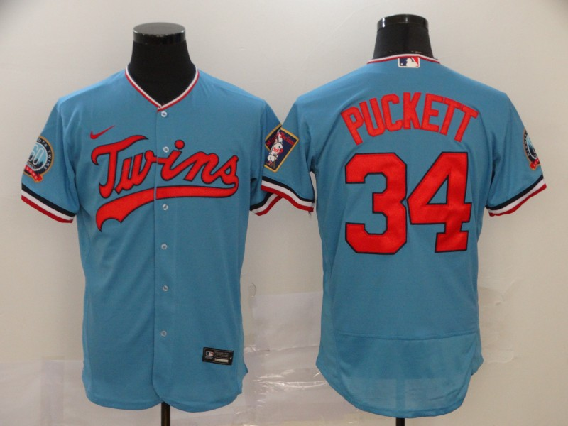 Twins 34 Kirby Puckett Blue Nike 60th Season Flexbase Jersey