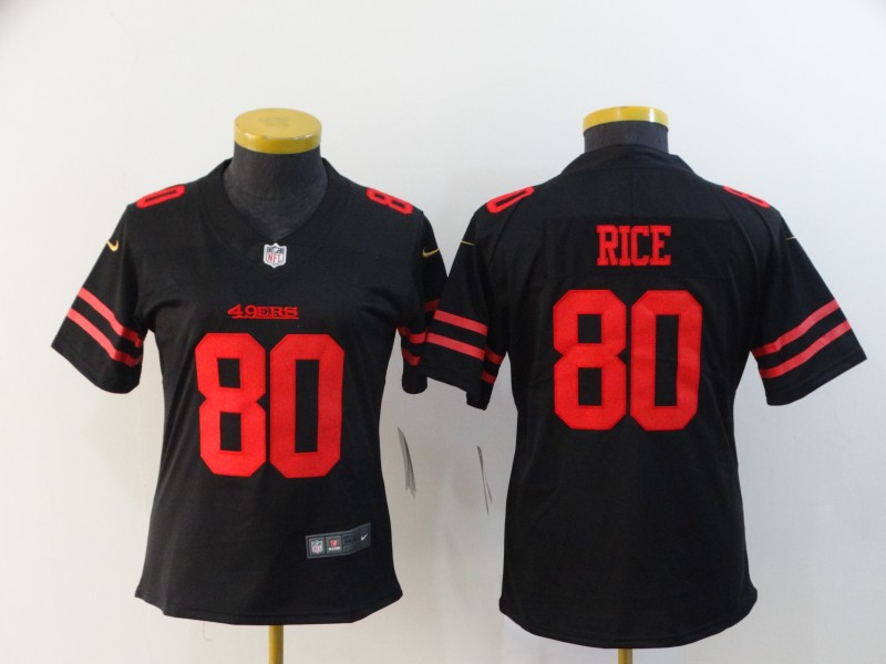Nike 49ers 80 Jerry Rice Black Women Vapor Untouchable Limited Jersey