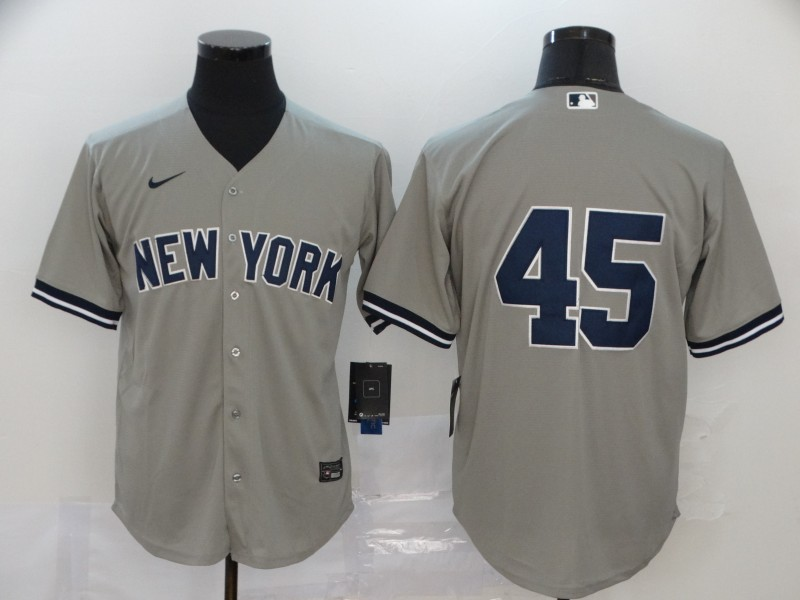Yankees 45 Gerrit Cole Gray 2020 Nike Cool Base Replica Player Jersey