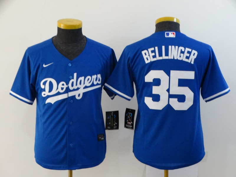 Dodgers 35 Cody Bellinger Royal Youth 2020 Nike Cool Base Jersey