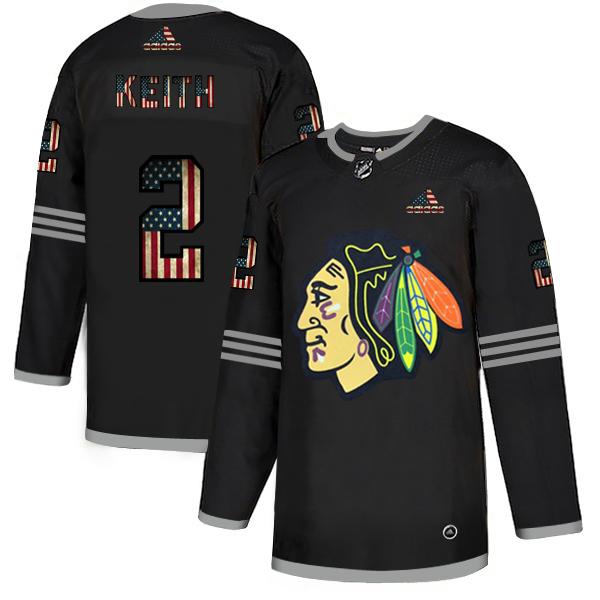 Blackhawks 2 Duncan Keith Black USA Flag Fashion Adidas Jersey