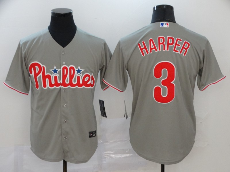 Phillies 3 Bryce Harper Gray 2020 Nike Cool Base Jersey