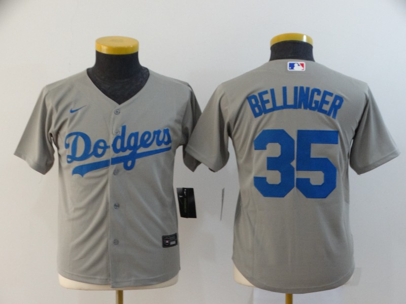 Dodgers 35 Cody Bellinger Gray Youth 2020 Nike Cool Base Jersey