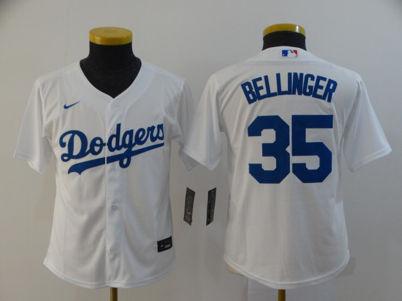 Dodgers 35 Cody Bellinger White Youth 2020 Nike Cool Base Jersey