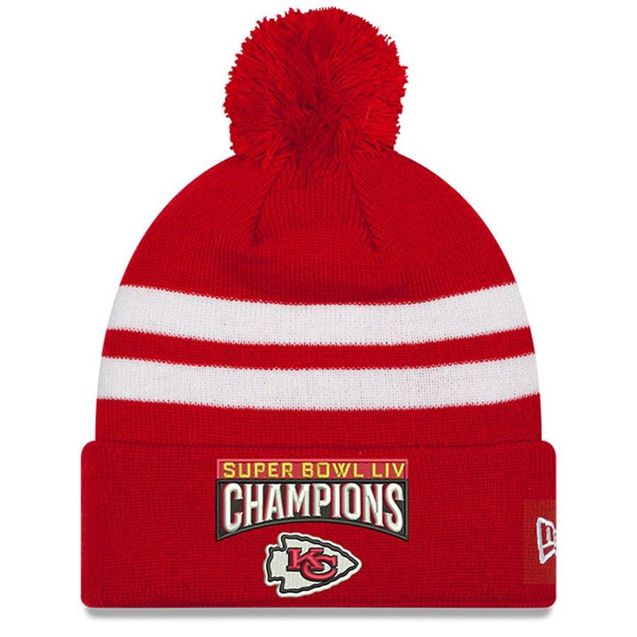 Chiefs Team Logo Red 2020 Super Bowl LIV Champions Pom Knit Hat YP