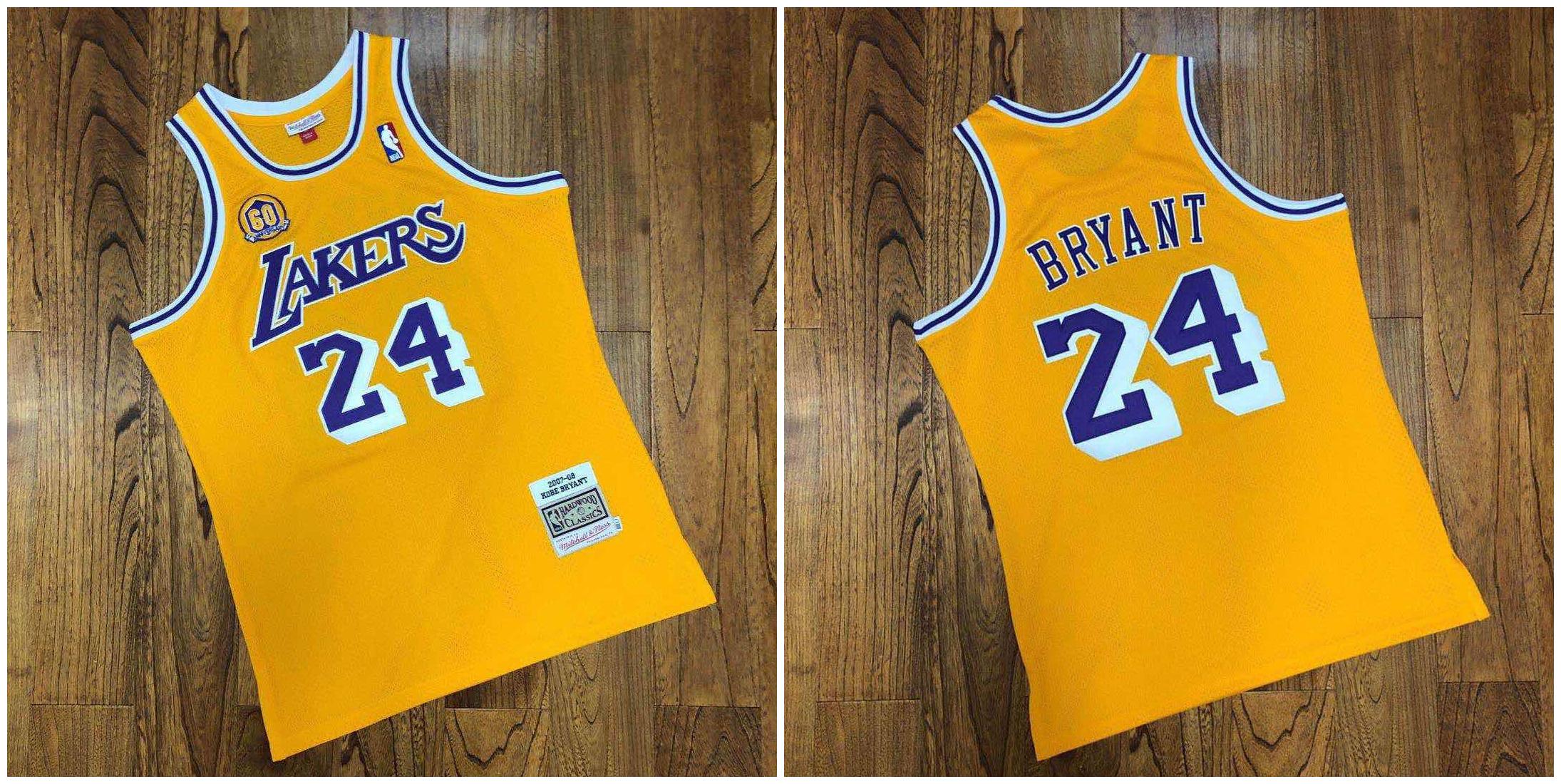 Lakers 24 Kobe Bryant Yellow 60th Anniversary 2007-08 Hardwood Classics Jersey
