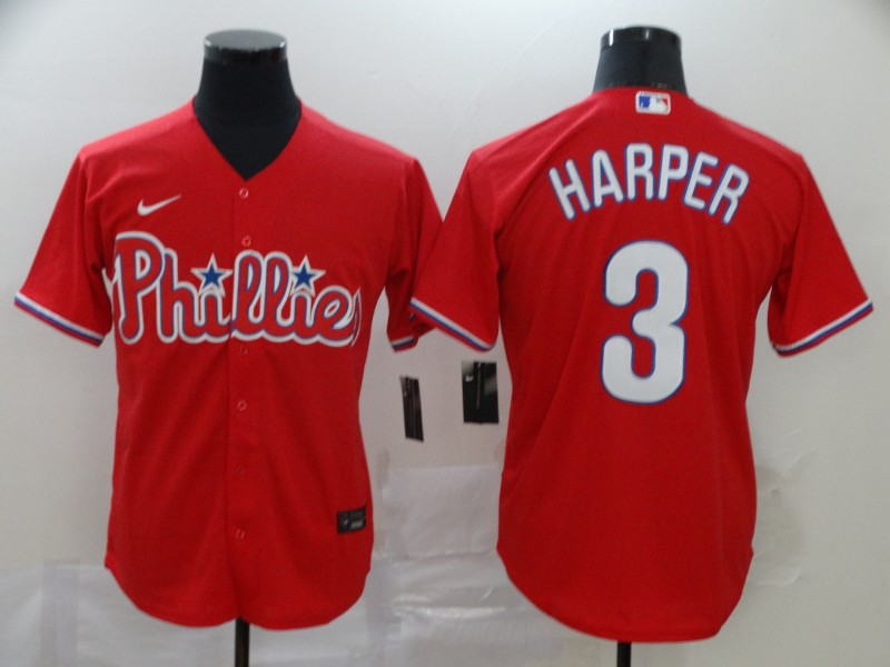 Phillies 3 Bryce Harper Red 2020 Nike Cool Base Jersey