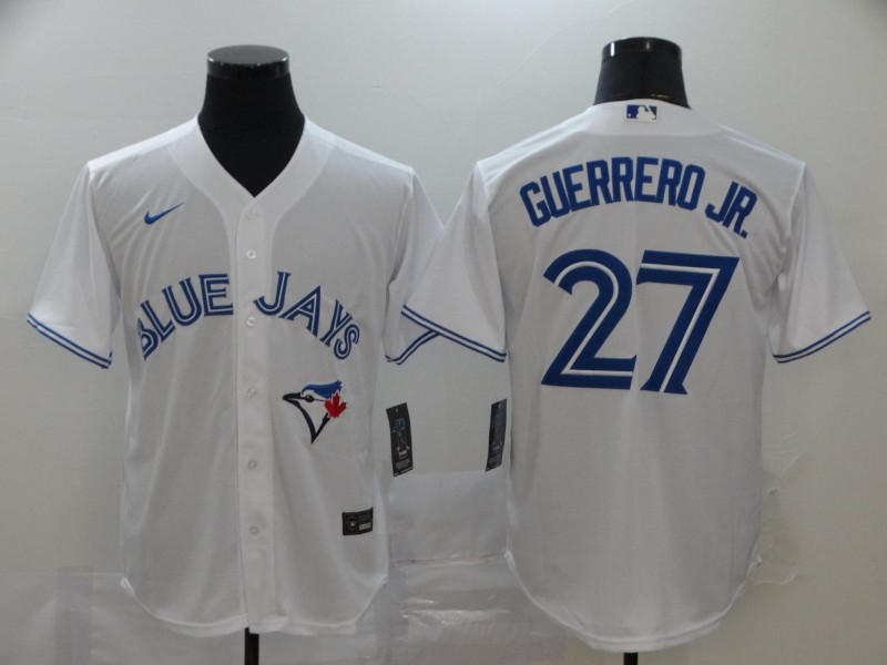 Blue Jays 27 Vladimir Guerrero Jr. White 2020 Nike Cool Base Jersey