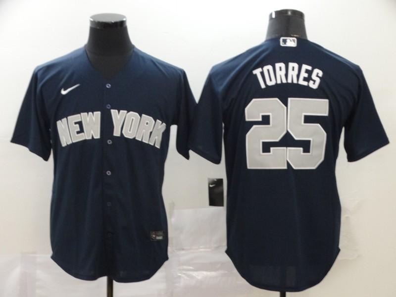 Yankees 25 Gleyber Torres Navy 2020 Nike Cool Base Jersey