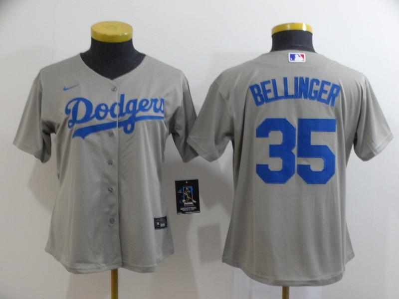Dodgers 35 Cody Bellinger Gray Women 2020 Nike Cool Base Jersey