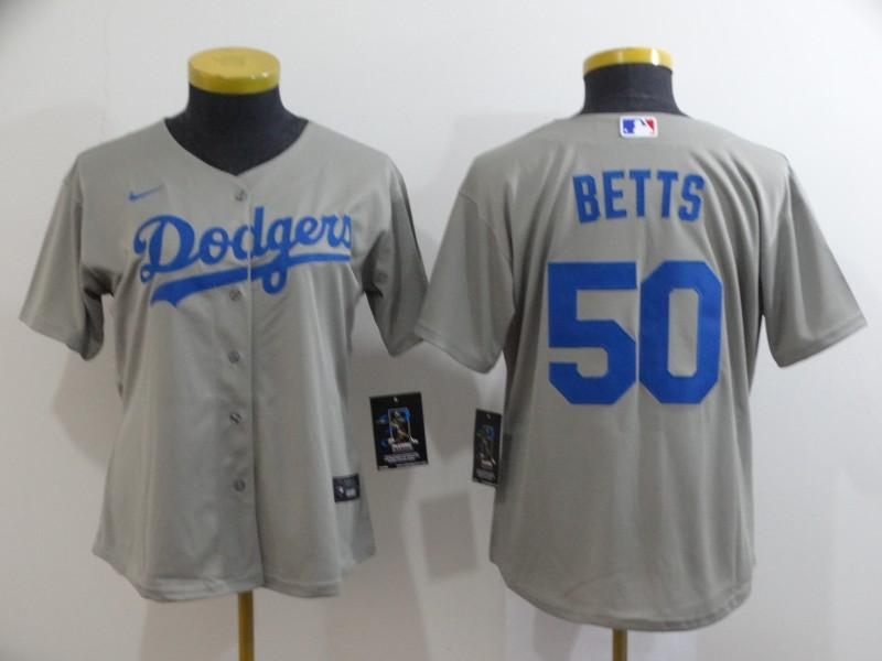 Dodgers 50 Mookie Betts Gray Women 2020 Nike Cool Base Jersey