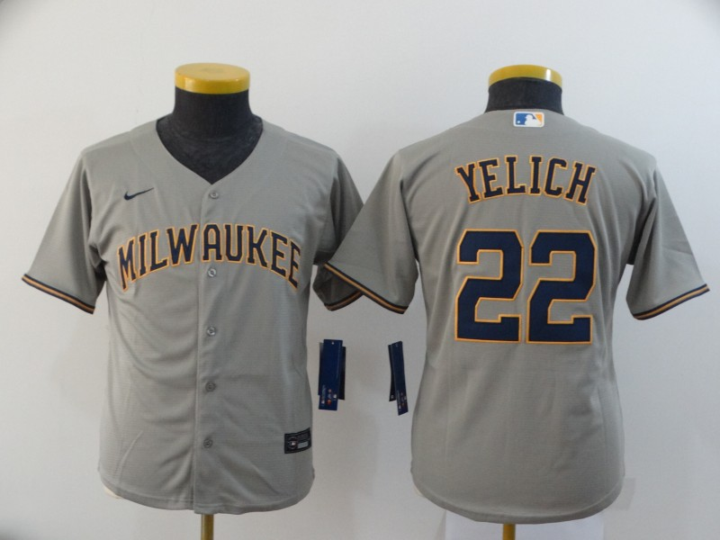 Brewers 22 Christian Yelich Gray Youth Nike 2020 Cool Base Jersey