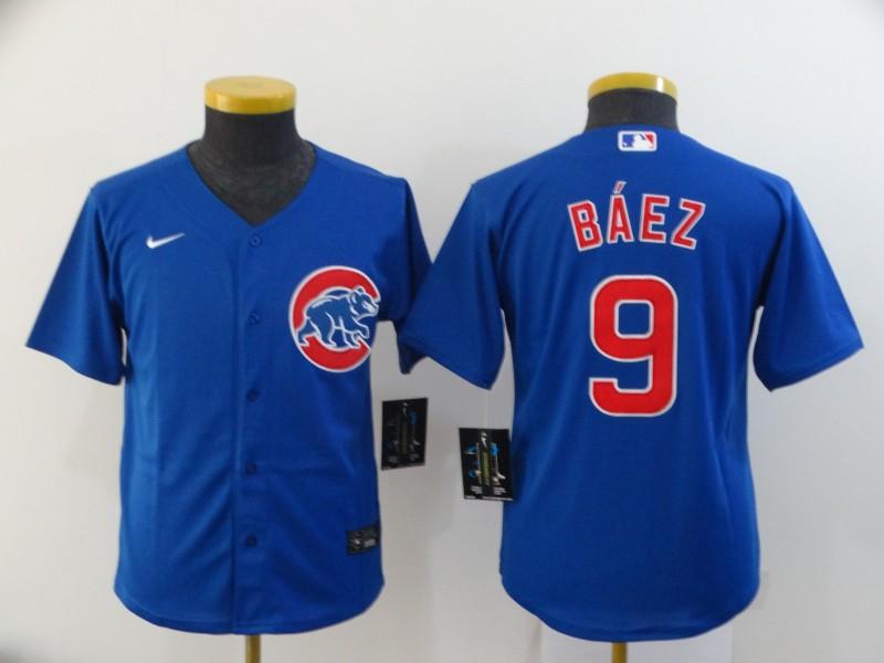 Cubs 9 Javier Baez Royal Youth 2020 Nike Cool Base Jersey