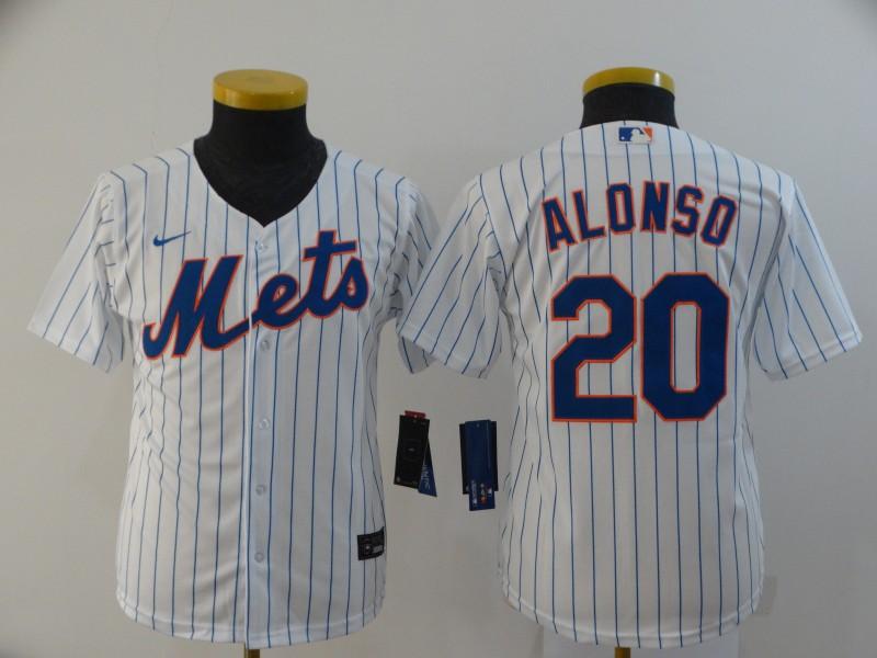 Mets 20 Pete Alonso White Youth 2020 Nike Flexbase Jersey