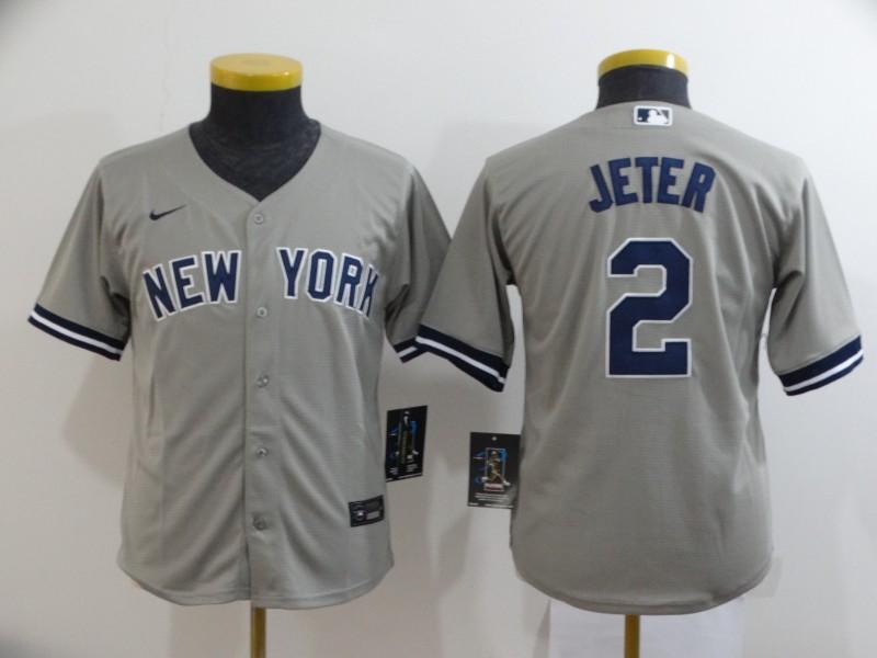 Yankees 2 Derek Jeter Gray Youth 2020 Nike Cool Base Jersey