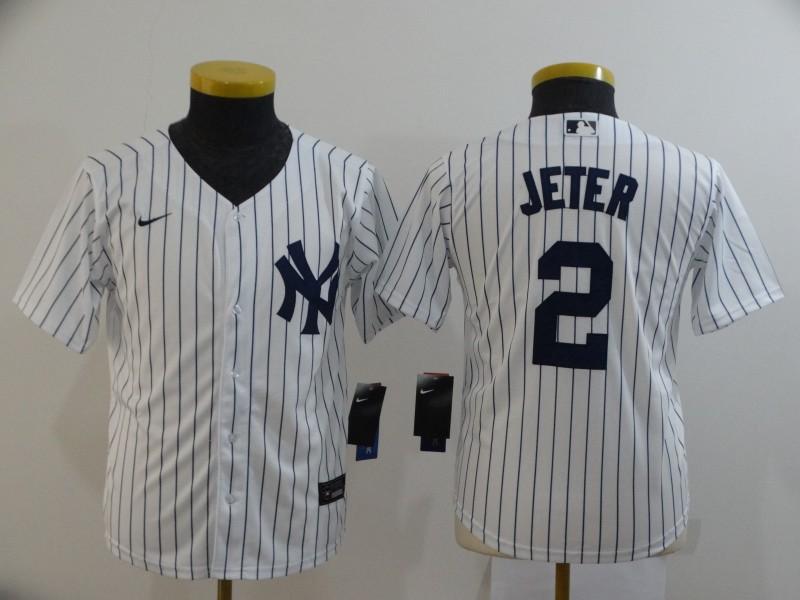 Yankees 2 Derek Jeter White Youth 2020 Nike Cool Base Jersey