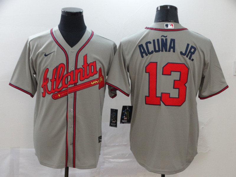 Braves 13 Ronald Acuna Jr. Gray 2020 Nike Cool Base Jersey