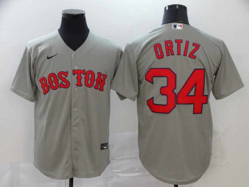 Red Sox 34 David Ortiz Gray 2020 Nike Cool Base Jersey