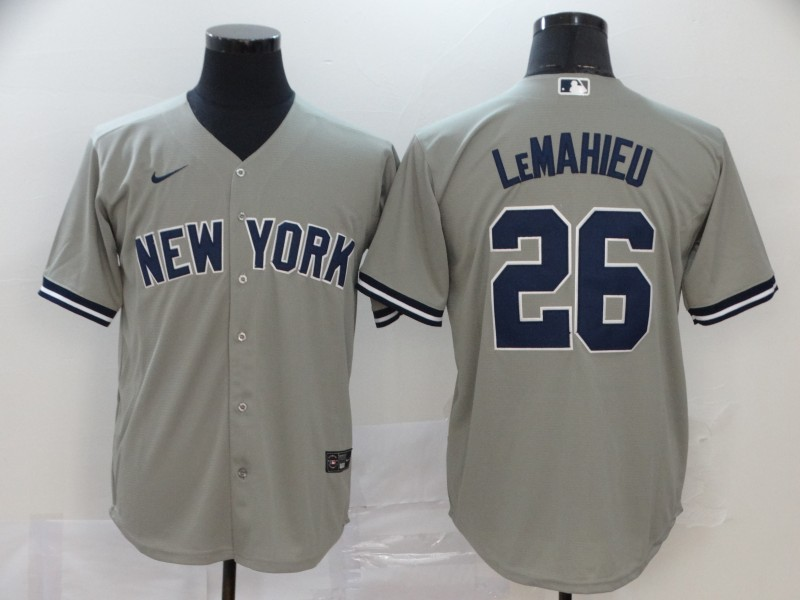 Yankees 26 DJ LeMahieu Gray 2020 Nike Cool Base Jersey