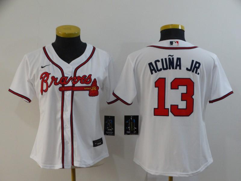 Braves 13 Ronald Acuna Jr. White Women 2020 Nike Cool Base Jersey