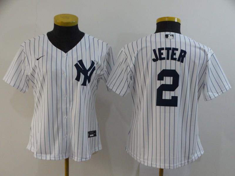Yankees 2 Derek Jeter White Women 2020 Nike Cool Base Jersey