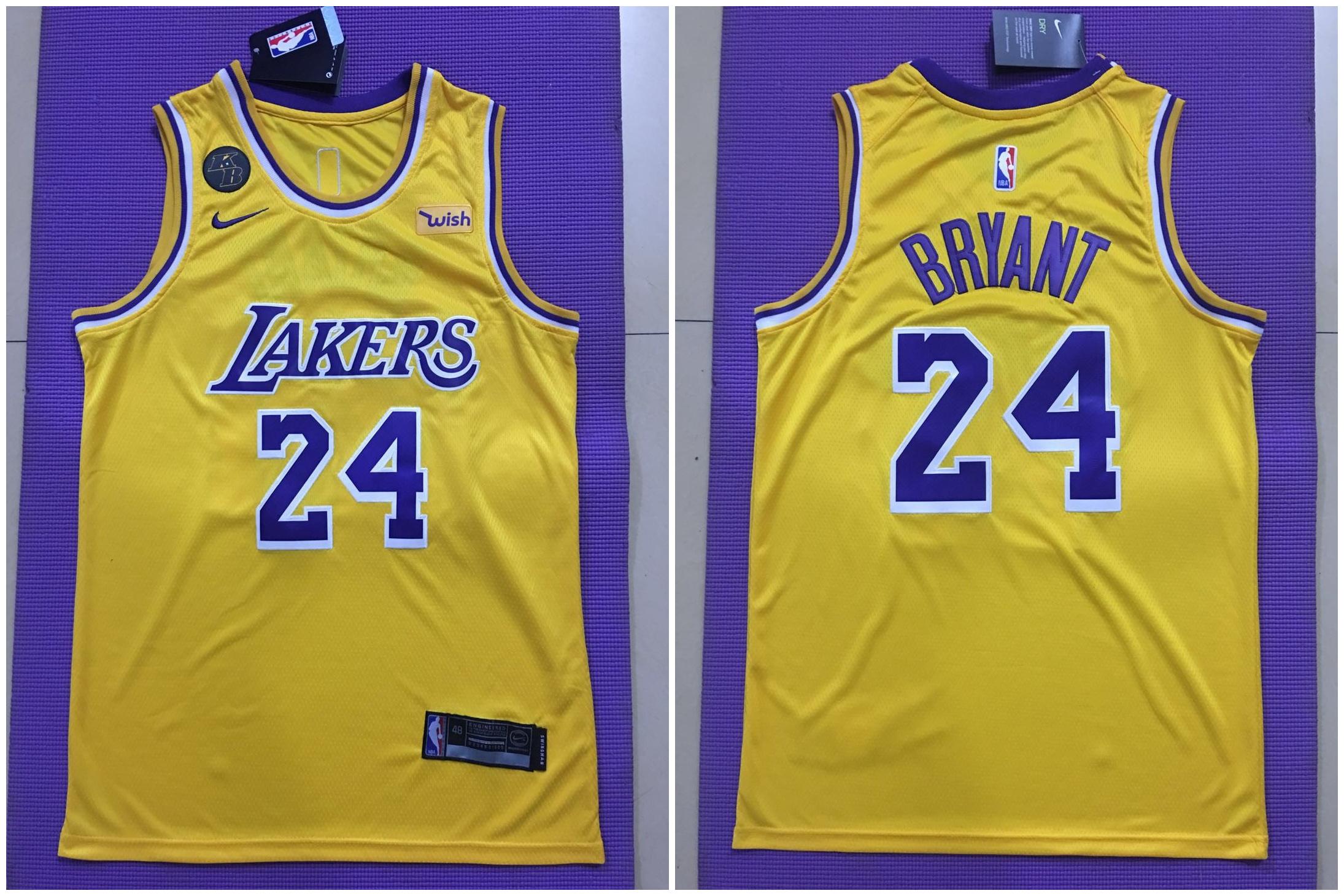 Lakers 24 kobe Bryant Yellow Commemorative Edition Nike Swingman Jersey