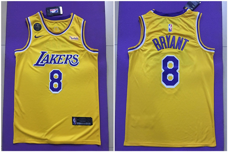 Lakers 8 kobe Bryant Yellow Commemorative Edition Nike Swingman Jersey