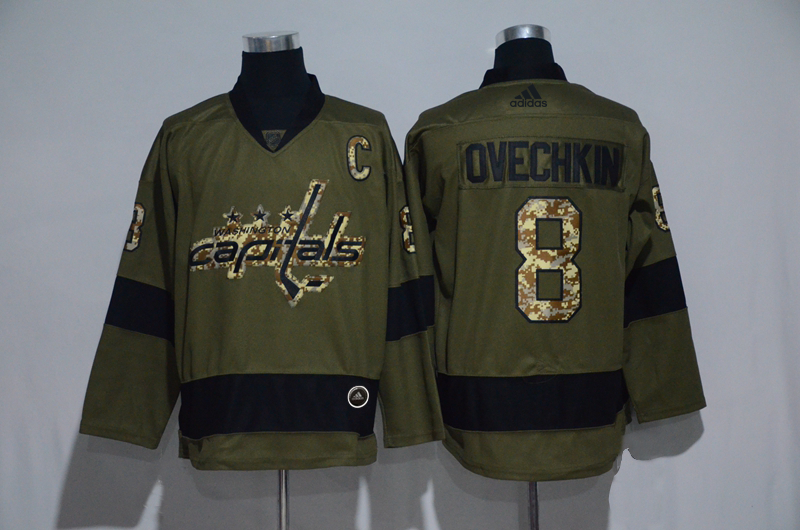 Capitals 8 Alexander Ovechkin Olive Adidas Jersey
