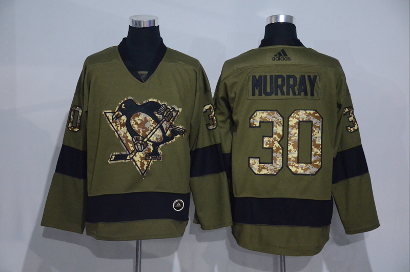 Penguins 30 Matt Murray Olive Adidas Jersey