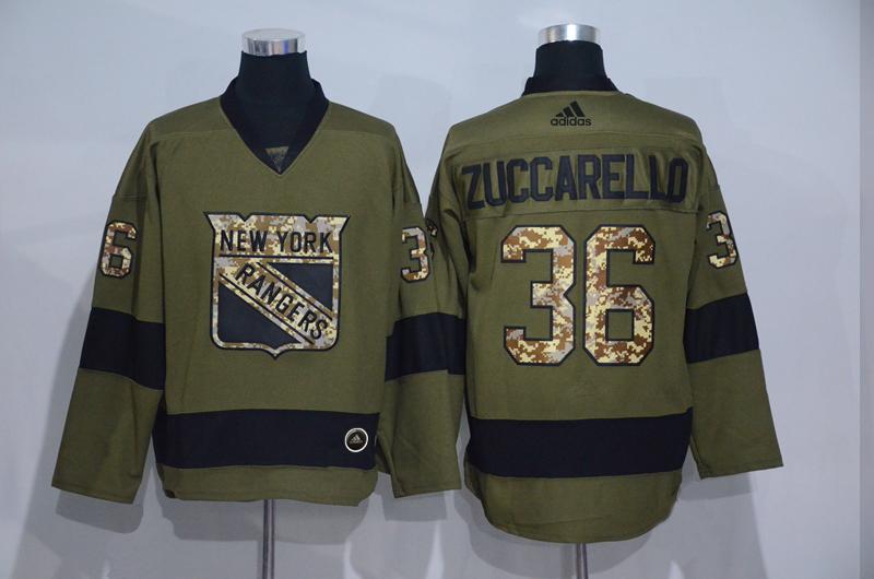 Rangers 36 Mats Zuccarello Olive Adidas Jersey