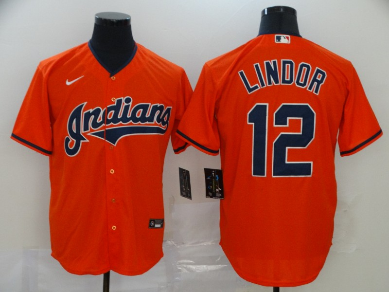 Indians 12 Francisco Lindor Orange 2020 Nike Cool Base Jersey