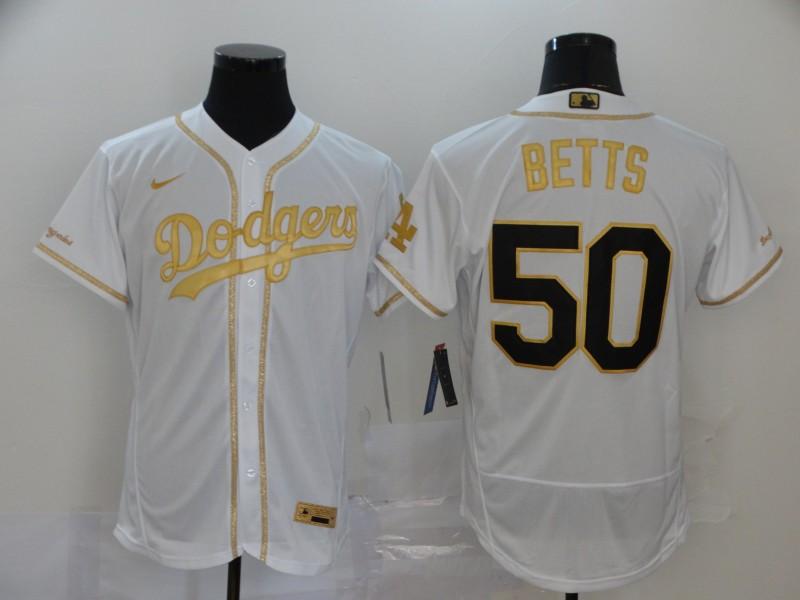 Dodgers 50 Mookie Betts White Gold 2020 Nike Flexbase Jersey