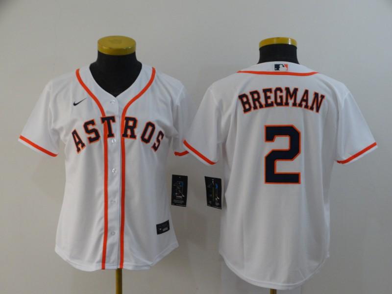 Astros 2 Alex Bregman White Women 2020 Nike Cool Base Jersey