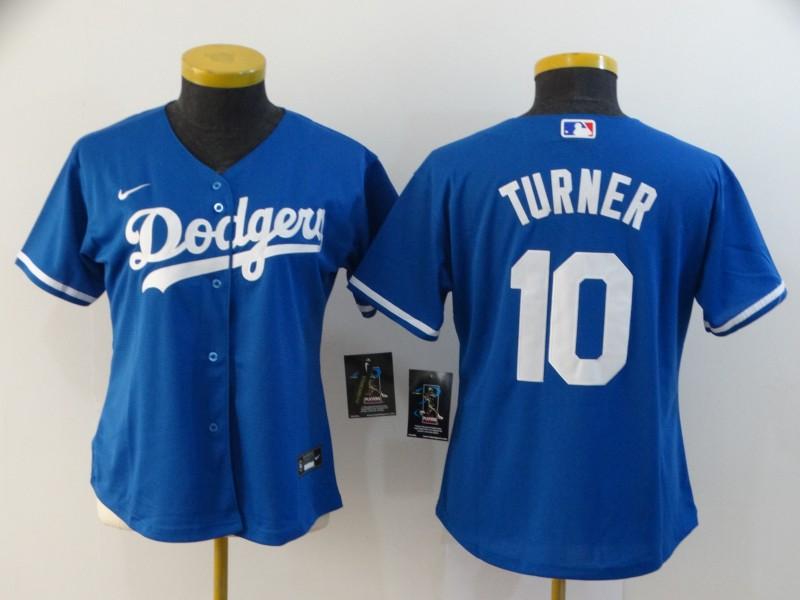 Dodgers 10 Justin Turner Royal Women 2020 Nike Cool Base Jersey