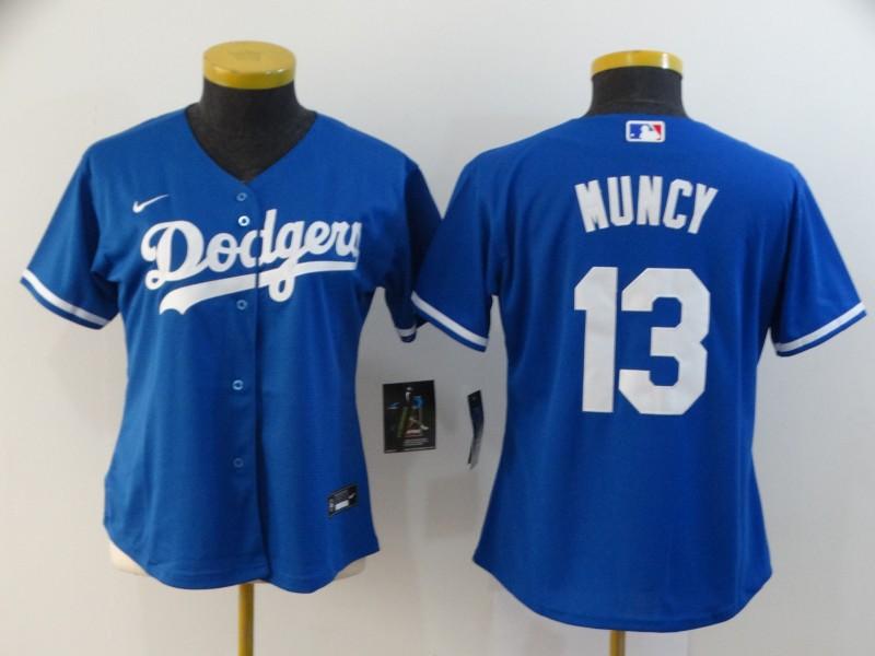 Dodgers 13 Max Muncy Royal Women 2020 Nike Cool Base Jersey