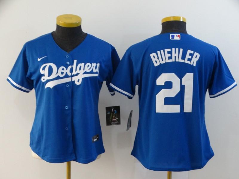 Dodgers 21 Walker Buehler Royal Women 2020 Nike Cool Base Jersey