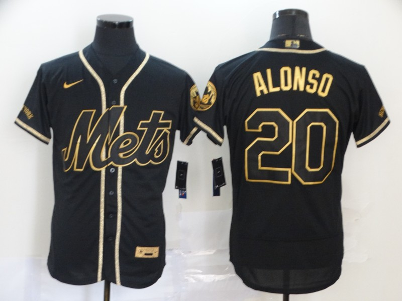 Mets 20 Pete Alonso Black Gold 2020 Nike Flexbase Jersey