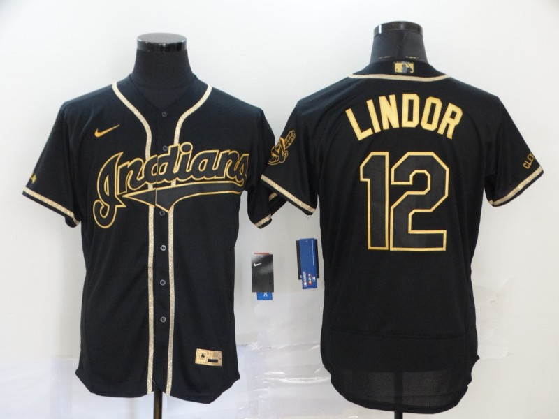 Indians 12 Francisco Lindor Black Gold 2020 Nike Flexbase Jersey