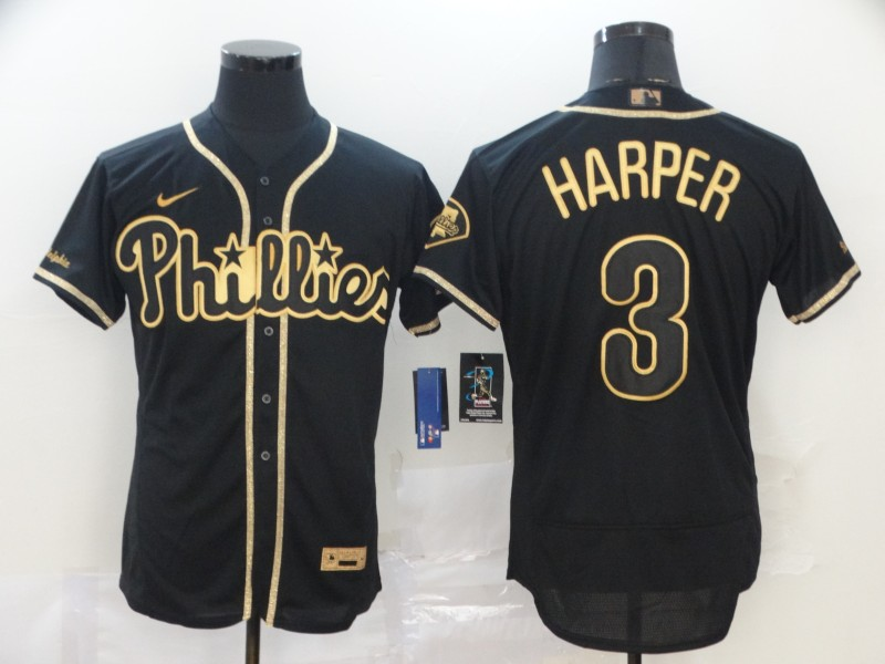 Phillies 3 Bryce Harper Black Gold 2020 Nike Cool Base Jersey