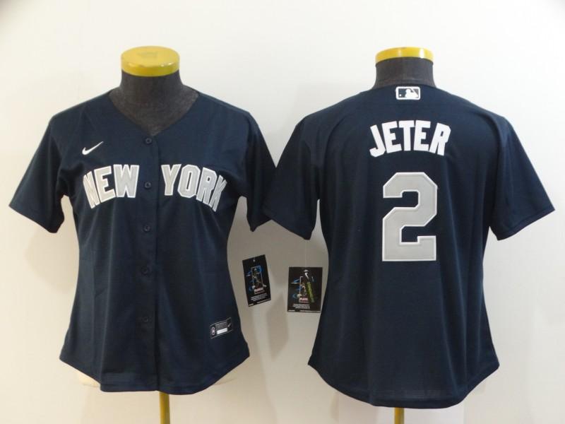 Yankees 2 Derek Jeter Navy Women 2020 Nike Cool Base Jersey