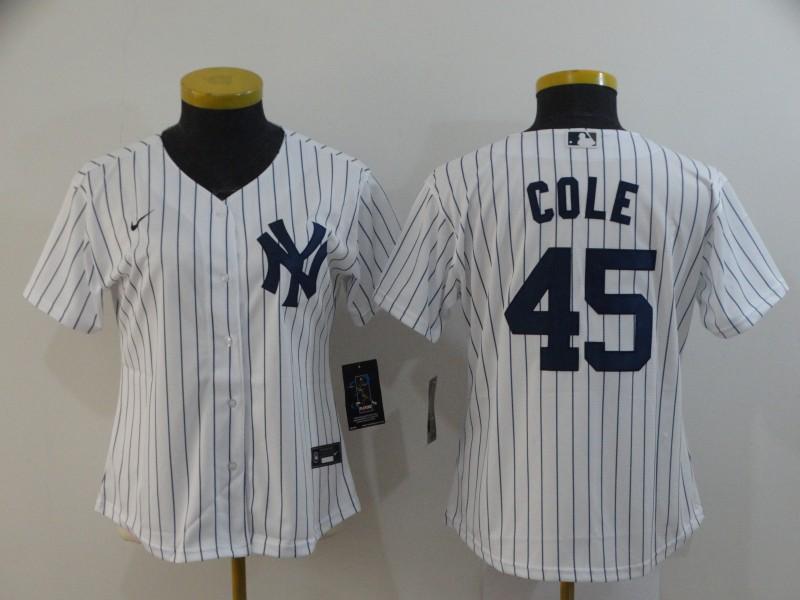 Yankees 45 Gerrit Cole White Women 2020 Nike Cool Base Jersey